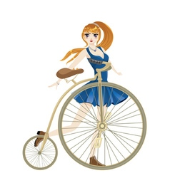 Retro Bike and Girl2 vector image