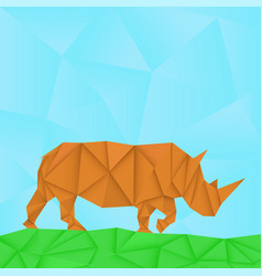 rhinoceros polygonal origami like vector image