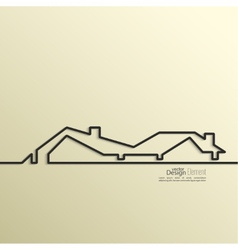 Ribbon in the form of house with shadow and space vector image