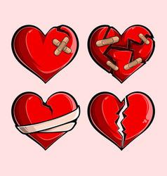Romantic red broken hearts set broken stuck vector