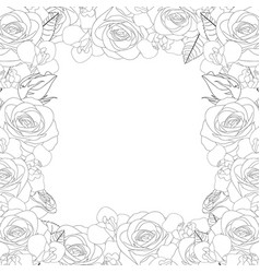 Rose and iris flower outline border vector