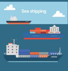 sea shipping cargo container sailing ship cartoon vector image