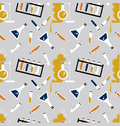 Seamless pattern with laboratory equipment vector