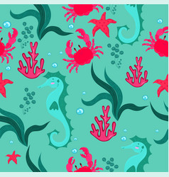 seamless pattern with seahorses crabs algae vector image