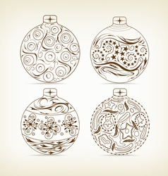 set of christmas balls doodle for design vector image