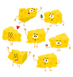 Set of cute and funny cheese chunk character vector