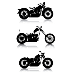 Set of motorcycle silhouettes vector