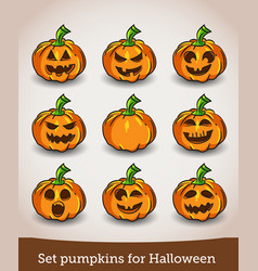 set pumpkins for halloween isolated on white vector image