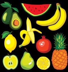 Set with fruits avocado watermelon banana lemon vector