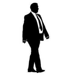 Silhouette businessman man in suit with tie on a vector