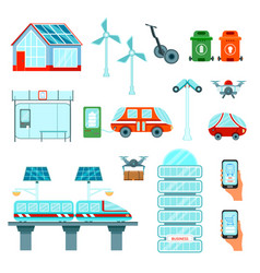 Smart city flat icons set vector
