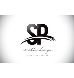 Sp s p letter logo design with swoosh and black vector