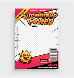 superhero comic magazine front cover page design vector image