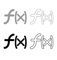 Symbol function icon outline set grey black color vector