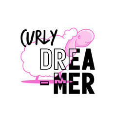 typography slogan with cute sheep and text curly vector image
