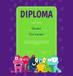 Vertical children diploma or certificate vector