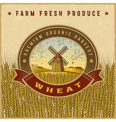 Vintage colorful wheat harvest label vector