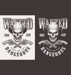 Wanted print with skull in vintage style vector