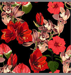 watercolor style red exotic flowers pattern vector image