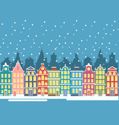 winter city houses in vector image