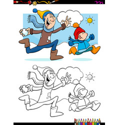 Winter fun with family coloring book vector