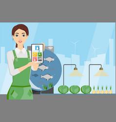 Woman farmer with digital tablet vector