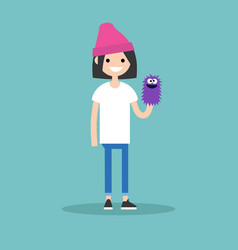 young female character playing with a hand puppet vector image