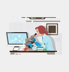 young scientist looking through a microscope in a vector image