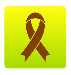 black awareness ribbon sign brown icon at vector image