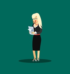 Business woman in black costume vector image vector image