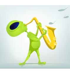 Cartoon alien Saxophone vector image vector image