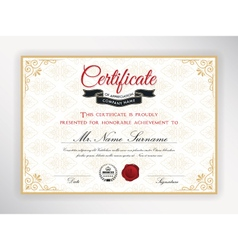 Certificate of achievement template design vector image