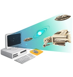 Computer screen with spaceships in the space vector image vector image