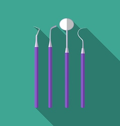 Flat design modern of dental tools icon with long vector image vector image