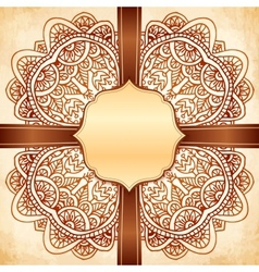 Ornate vintage background with brown ribbon vector image vector image