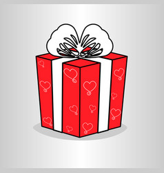 Red gift box with white ribbon bow vector