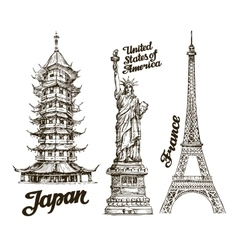 Travel Hand drawn sketch Japan USA France vector image