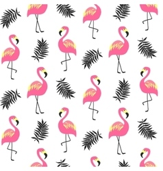 Beautiful seamless pattern with pink flamingo vector image