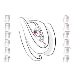 Calendar 2025 The Year of the Snake vector image