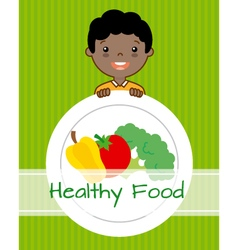 boy with vegetables vector image