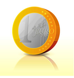 cartoon simple euro coin vector image