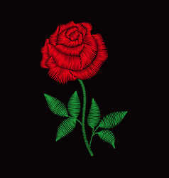 Embroidery rose for fashion clothes vector