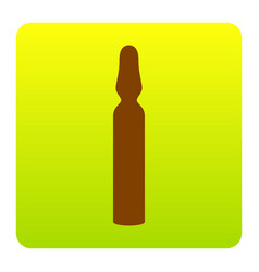 medical ampoule sign brown icon at green vector image
