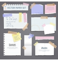 Paper Banners Set With Sticky Tape vector image vector image