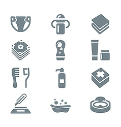 babys things icon set gray vector image