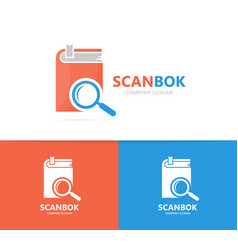 Book and loupe logo combination library vector