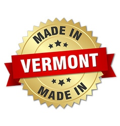 made in Vermont gold badge with red ribbon vector image