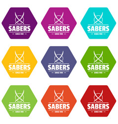 saber icons set 9 vector image vector image