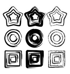 Set of grunge spiral motion geometric vector image