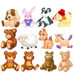 Stuffed animals vector image vector image